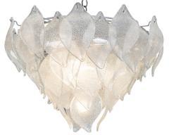 A V Mazzega Vintage Murano Leaf Chandelier Pendant Attributed to AV Mazzega Italy - 566816