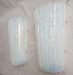 A V Mazzega Vintage Opaline Murano glass sconces Mazzega style Italy 1970s 2 pairs - 2008233
