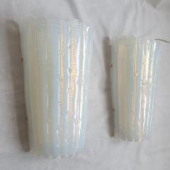A V Mazzega Vintage Opaline Murano glass sconces Mazzega style Italy 1970s 2 pairs - 2008235