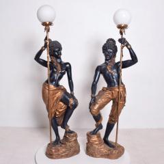 ARP Pair of Italian Torchiere Floor Lamps by ARP in Goldleaf Blackamoor - 1170679