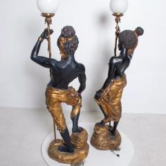 ARP Pair of Italian Torchiere Floor Lamps by ARP in Goldleaf Blackamoor - 1170684