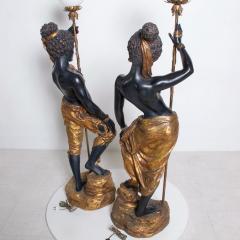ARP Pair of Italian Torchiere Floor Lamps by ARP in Goldleaf Blackamoor - 1170685