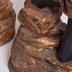 ARP Pair of Italian Torchiere Floor Lamps by ARP in Goldleaf Blackamoor - 1170687
