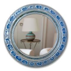 Accolay Pottery Mirror with blue glazed ceramic frame by Teh Accolay Potteries - 1276412