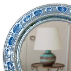 Accolay Pottery Mirror with blue glazed ceramic frame by Teh Accolay Potteries - 1276413