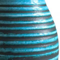 Accolay Pottery Ridged Teal Vase Attrib Poitieres dAccolay - 1896491