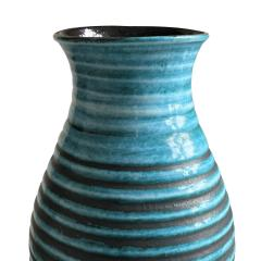 Accolay Pottery Ridged Teal Vase Attrib Poitieres dAccolay - 1896493