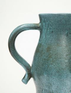 Accolay Pottery Signed Accolay Blue Ceramic Milk Pitcher - 1326719