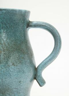 Accolay Pottery Signed Accolay Blue Ceramic Milk Pitcher - 1326720