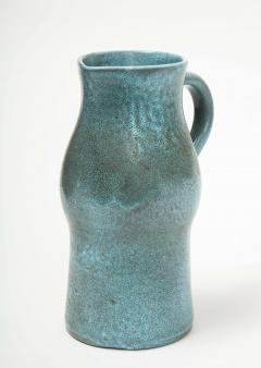 Accolay Pottery Signed Accolay Blue Ceramic Milk Pitcher - 1326721