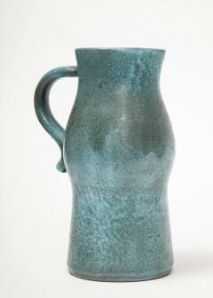Accolay Pottery Signed Accolay Blue Ceramic Milk Pitcher - 1326722