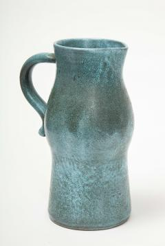 Accolay Pottery Signed Accolay Blue Ceramic Milk Pitcher - 1326723