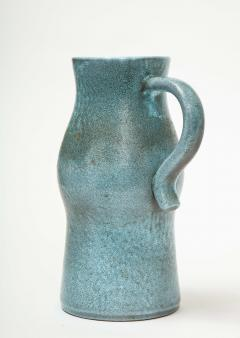 Accolay Pottery Signed Accolay Blue Ceramic Milk Pitcher - 1326726