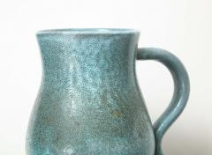 Accolay Pottery Signed Accolay Blue Ceramic Milk Pitcher - 1326727
