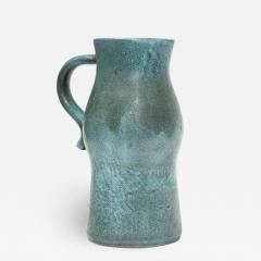 Accolay Pottery Signed Accolay Blue Ceramic Milk Pitcher - 1427340