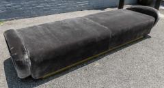 Adesso Studio Custom 1960s Italian Style Velvet Sofa or Bench with Brass Base - 1498914