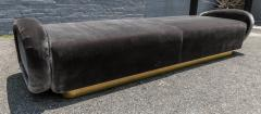 Adesso Studio Custom 1960s Italian Style Velvet Sofa or Bench with Brass Base - 1498915
