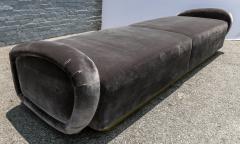 Adesso Studio Custom 1960s Italian Style Velvet Sofa or Bench with Brass Base - 1498916