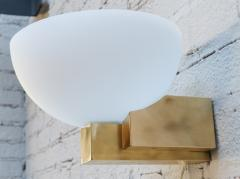 Adesso Studio Custom Art Deco Midcentury Style Brass and White Glass Sconces - 1498816