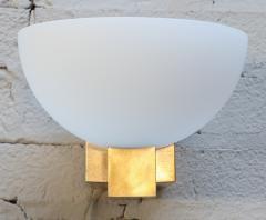 Adesso Studio Custom Art Deco Midcentury Style Brass and White Glass Sconces - 1498817