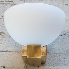 Adesso Studio Custom Art Deco Midcentury Style Brass and White Glass Sconces - 1498818