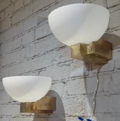 Adesso Studio Custom Art Deco Midcentury Style Brass and White Glass Sconces - 1498820