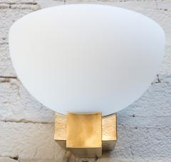 Adesso Studio Custom Art Deco Midcentury Style Brass and White Glass Sconces - 1498821