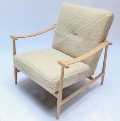 Adesso Studio Custom Beige Oak Ivory Sheepskin Mid Century Style Armchairs - 1832804