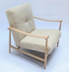 Adesso Studio Custom Beige Oak Ivory Sheepskin Mid Century Style Armchairs - 1832805