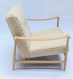 Adesso Studio Custom Beige Oak Ivory Sheepskin Mid Century Style Armchairs - 1832806