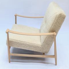 Adesso Studio Custom Beige Oak Ivory Sheepskin Mid Century Style Armchairs - 1832807