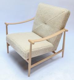 Adesso Studio Custom Beige Oak Ivory Sheepskin Mid Century Style Armchairs - 1832808