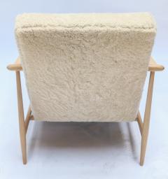 Adesso Studio Custom Beige Oak Ivory Sheepskin Mid Century Style Armchairs - 1832809