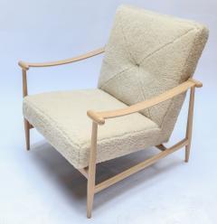 Adesso Studio Custom Beige Oak Ivory Sheepskin Mid Century Style Armchairs - 1832810