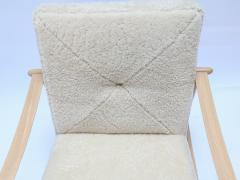 Adesso Studio Custom Beige Oak Ivory Sheepskin Mid Century Style Armchairs - 1832811