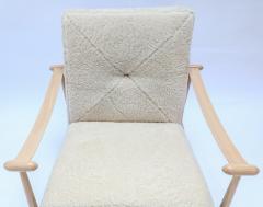 Adesso Studio Custom Beige Oak Ivory Sheepskin Mid Century Style Armchairs - 1832812
