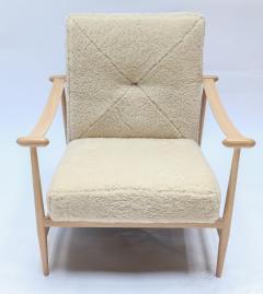 Adesso Studio Custom Beige Oak Ivory Sheepskin Mid Century Style Armchairs - 1832813