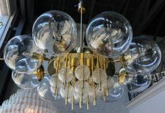 Adesso Studio Custom Mid Century Style Brass Chandelier with Clear Glass Balls - 1762602
