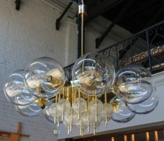Adesso Studio Custom Mid Century Style Brass Chandelier with Clear Glass Balls - 1762604