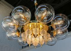Adesso Studio Custom Mid Century Style Brass Chandelier with Clear Glass Balls - 1762607