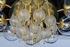 Adesso Studio Custom Mid Century Style Brass Chandelier with Clear Glass Balls - 1762609