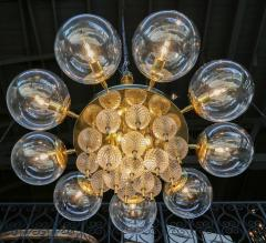 Adesso Studio Custom Mid Century Style Brass Chandelier with Clear Glass Balls - 1762610