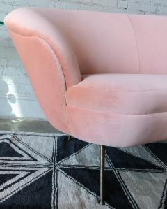 Adesso Studio Custom Mid Century Style Curved Pink Velvet Sofa with Brass Legs - 1140870