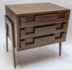 Adesso Studio Custom Mid Century Style Walnut Nightstands with Three Drawers - 1140873