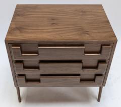 Adesso Studio Custom Mid Century Style Walnut Nightstands with Three Drawers - 1140875