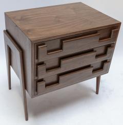 Adesso Studio Custom Mid Century Style Walnut Nightstands with Three Drawers - 1140876