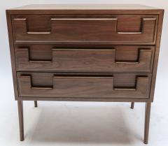 Adesso Studio Custom Mid Century Style Walnut Nightstands with Three Drawers - 1140879