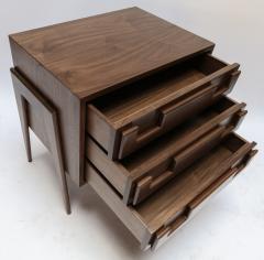 Adesso Studio Custom Mid Century Style Walnut Nightstands with Three Drawers - 1140889
