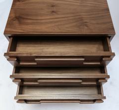 Adesso Studio Custom Mid Century Style Walnut Nightstands with Three Drawers - 1140890
