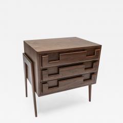 Adesso Studio Custom Mid Century Style Walnut Nightstands with Three Drawers - 1141137